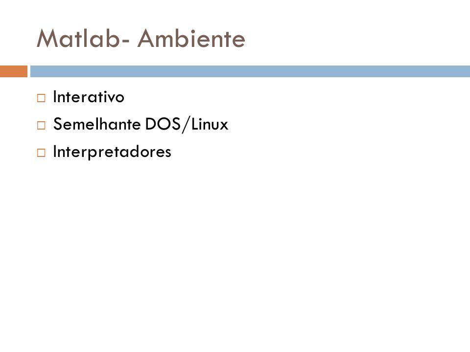 Matlab- Ambiente Interativo Semelhante DOS/Linux Interpretadores