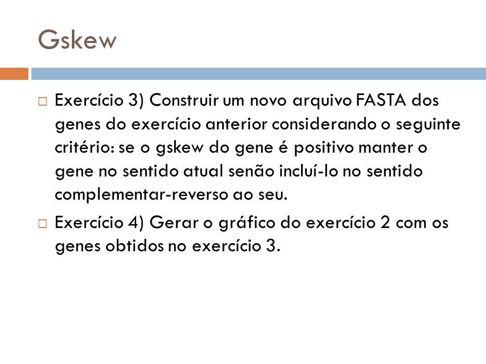 Gskew Exercício 3) Construir um novo arquivo FASTA dos genes do exercício anterior considerando o seguinte critério: se o gskew do gene é positivo man