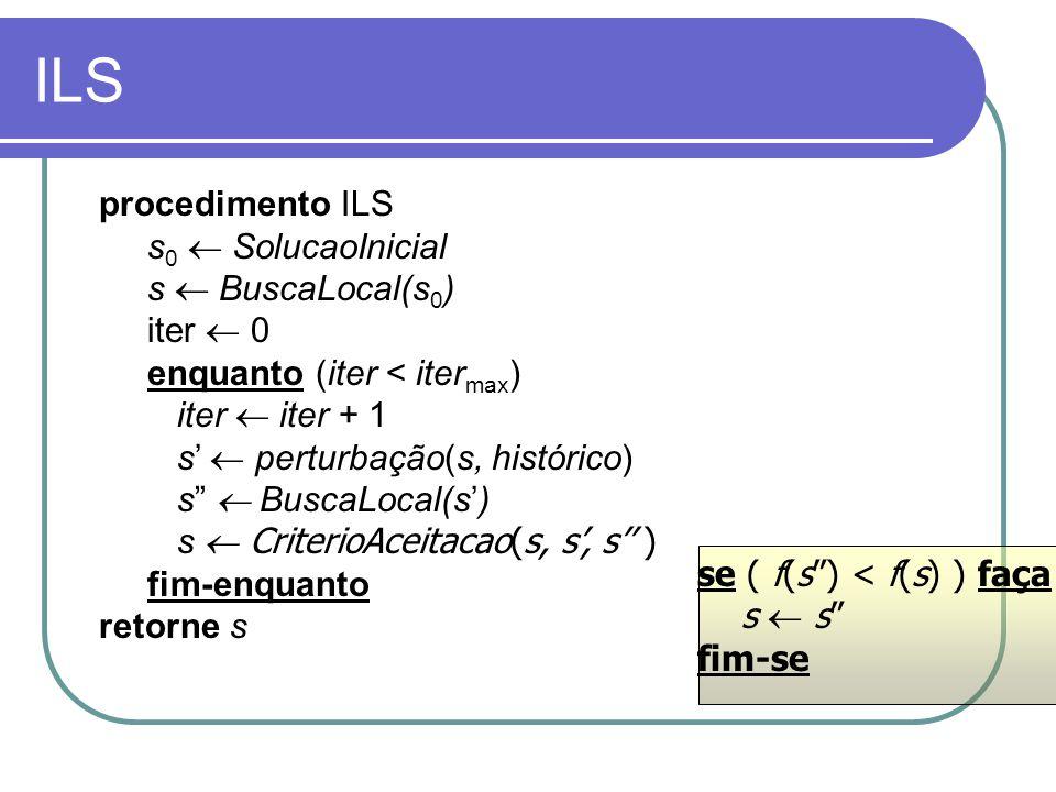 ILS se ( f(s) < f(s) ) faça s s fim-se procedimento ILS s 0 SolucaoInicial s BuscaLocal(s 0 ) iter 0 enquanto (iter < iter max ) iter iter + 1 s pertu