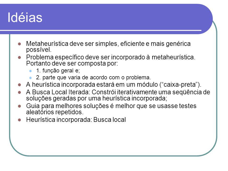 Idéias Metaheurística deve ser simples, eficiente e mais genérica possível. Problema específico deve ser incorporado à metaheurística. Portanto deve s