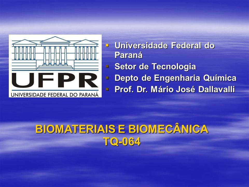 BIOMATERIAIS E BIOMECÂNICA TQ-064 Universidade Federal do Paraná Universidade Federal do Paraná Setor de Tecnologia Setor de Tecnologia Depto de Engen