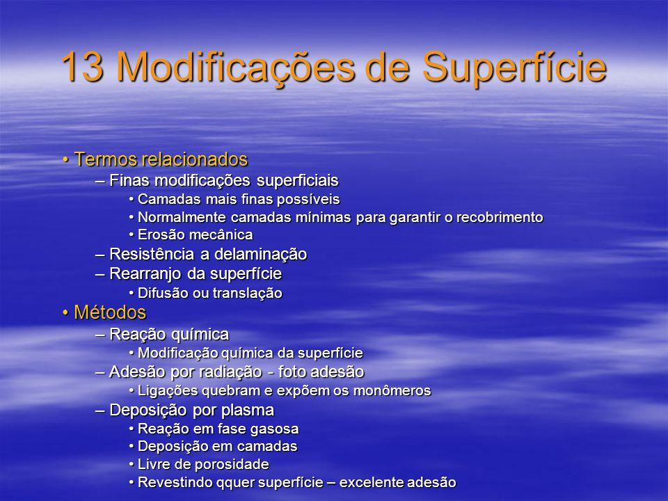 13 Modificações de Superfície Termos relacionados Termos relacionados – Finas modificações superficiais Camadas mais finas possíveis Camadas mais fina