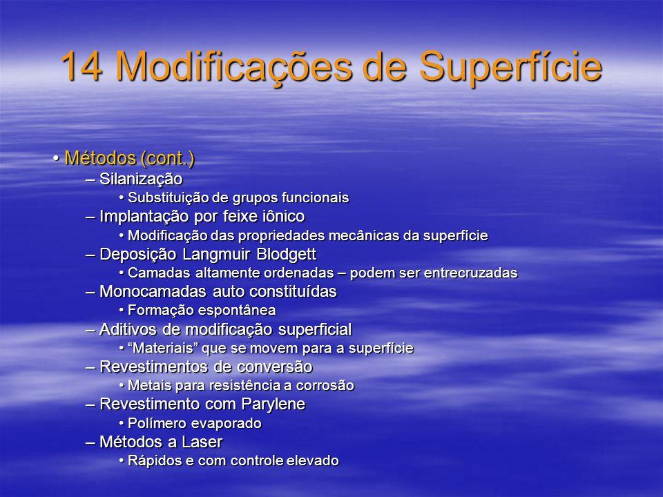 14 Modificações de Superfície Métodos (cont.) Métodos (cont.) – Silanização Substituição de grupos funcionais Substituição de grupos funcionais – Impl