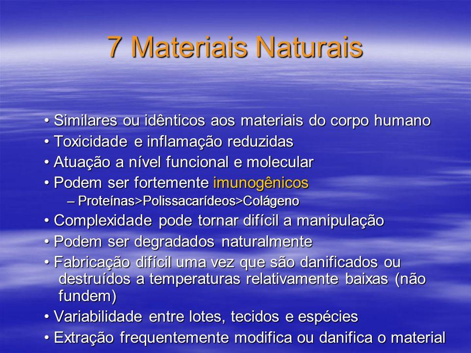 7 Materiais Naturais Similares ou idênticos aos materiais do corpo humano Similares ou idênticos aos materiais do corpo humano Toxicidade e inflamação