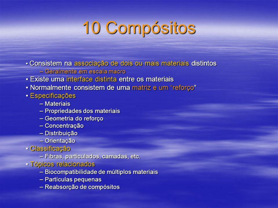10 Compósitos –Combinação de metais, cerâmicas e polímeros –Preservam as propriedades boas dos componentes e possuem propriedades superiores às de cada componente separado.
