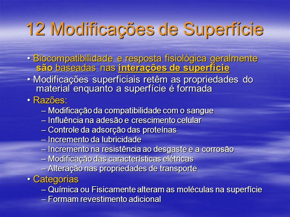 12 Modificações de Superfície Biocompatibilidade e resposta fisiológica geralmente são baseadas nas interações de superfície Biocompatibilidade e resp