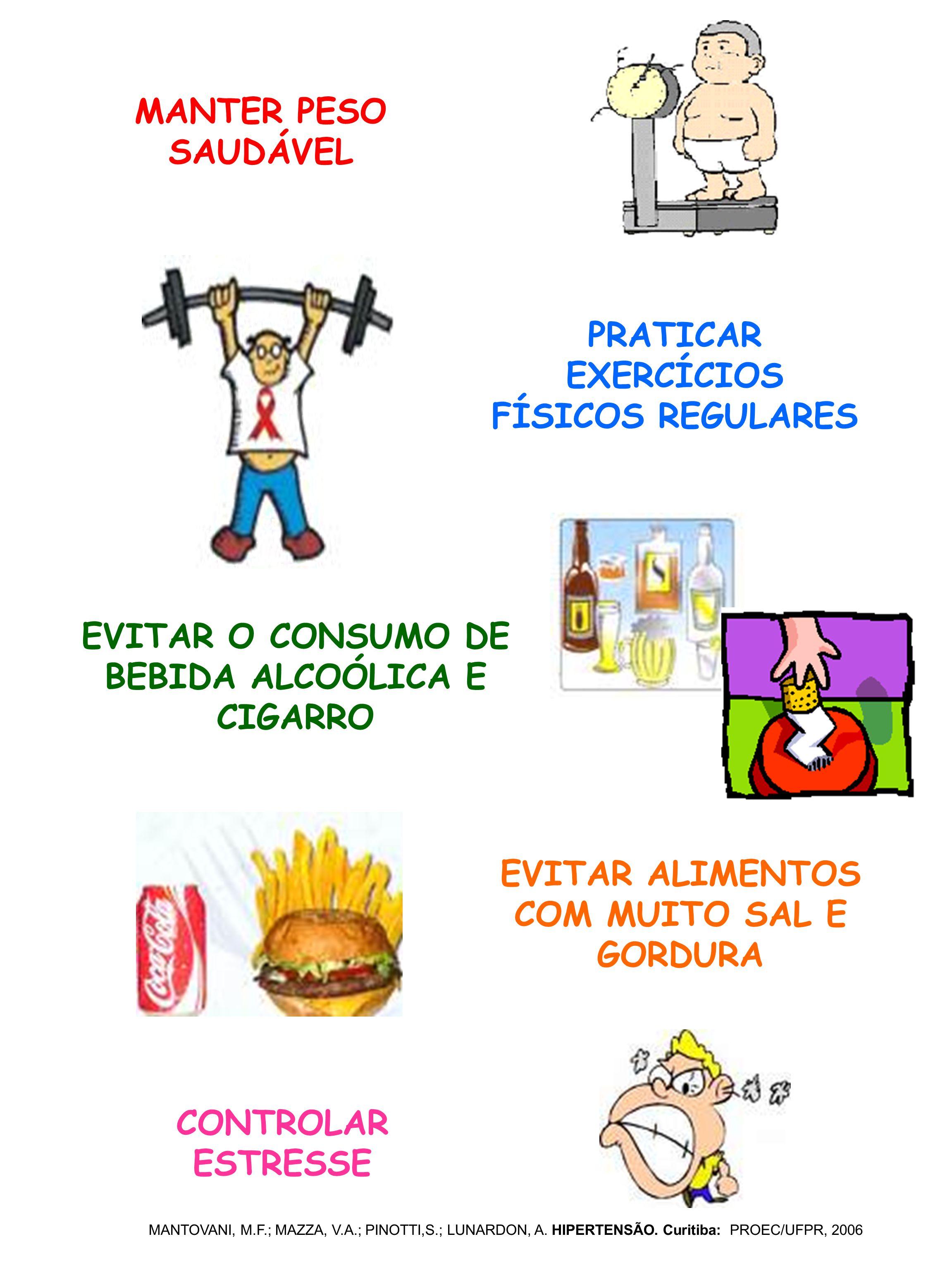 MANTER PESO SAUDÁVEL PRATICAR EXERCÍCIOS FÍSICOS REGULARES EVITAR O CONSUMO DE BEBIDA ALCOÓLICA E CIGARRO EVITAR ALIMENTOS COM MUITO SAL E GORDURA CON