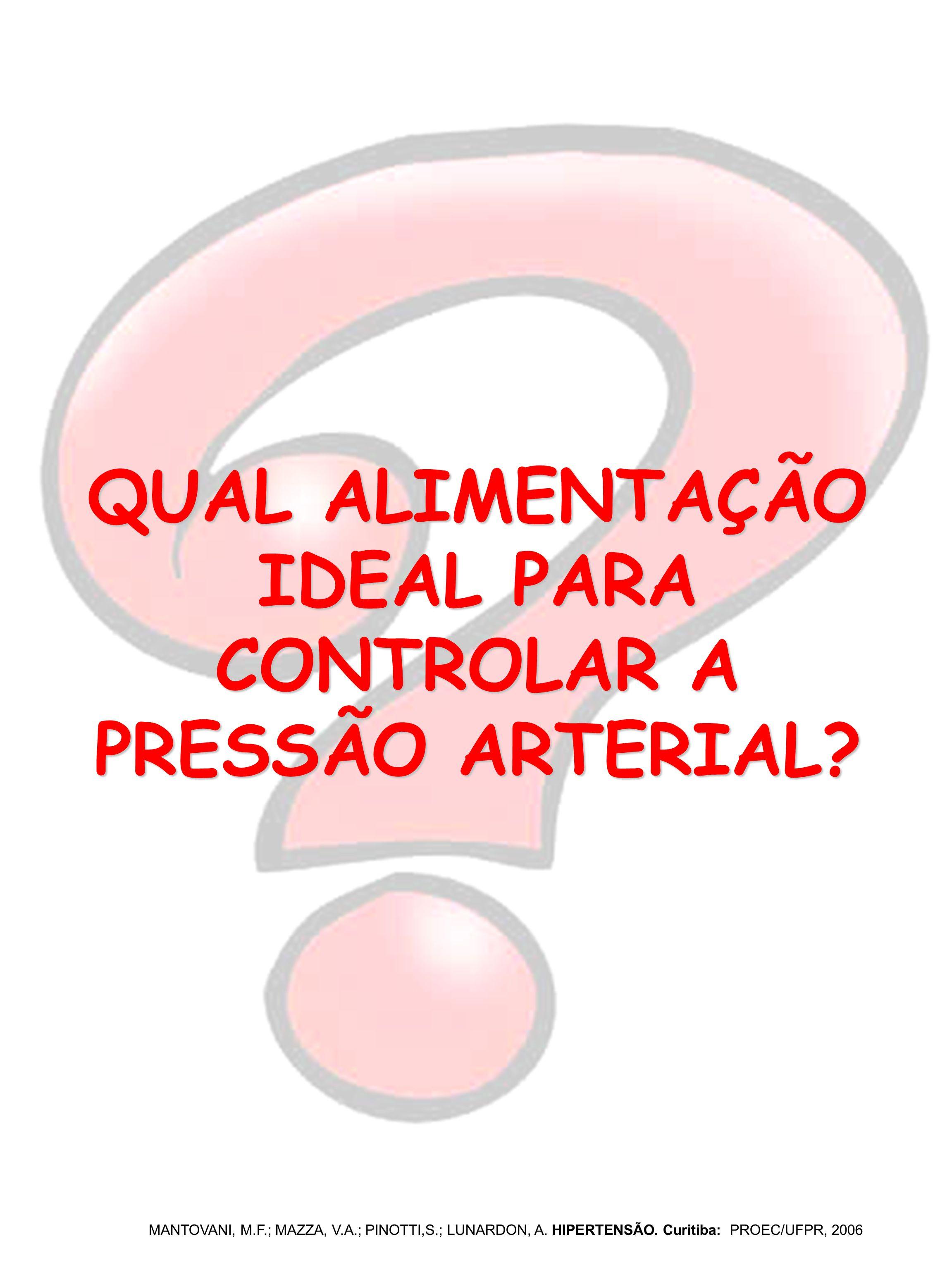 QUAL ALIMENTAÇÃO IDEAL PARA CONTROLAR A PRESSÃO ARTERIAL? MANTOVANI, M.F.; MAZZA, V.A.; PINOTTI,S.; LUNARDON, A. HIPERTENSÃO. Curitiba: PROEC/UFPR, 20
