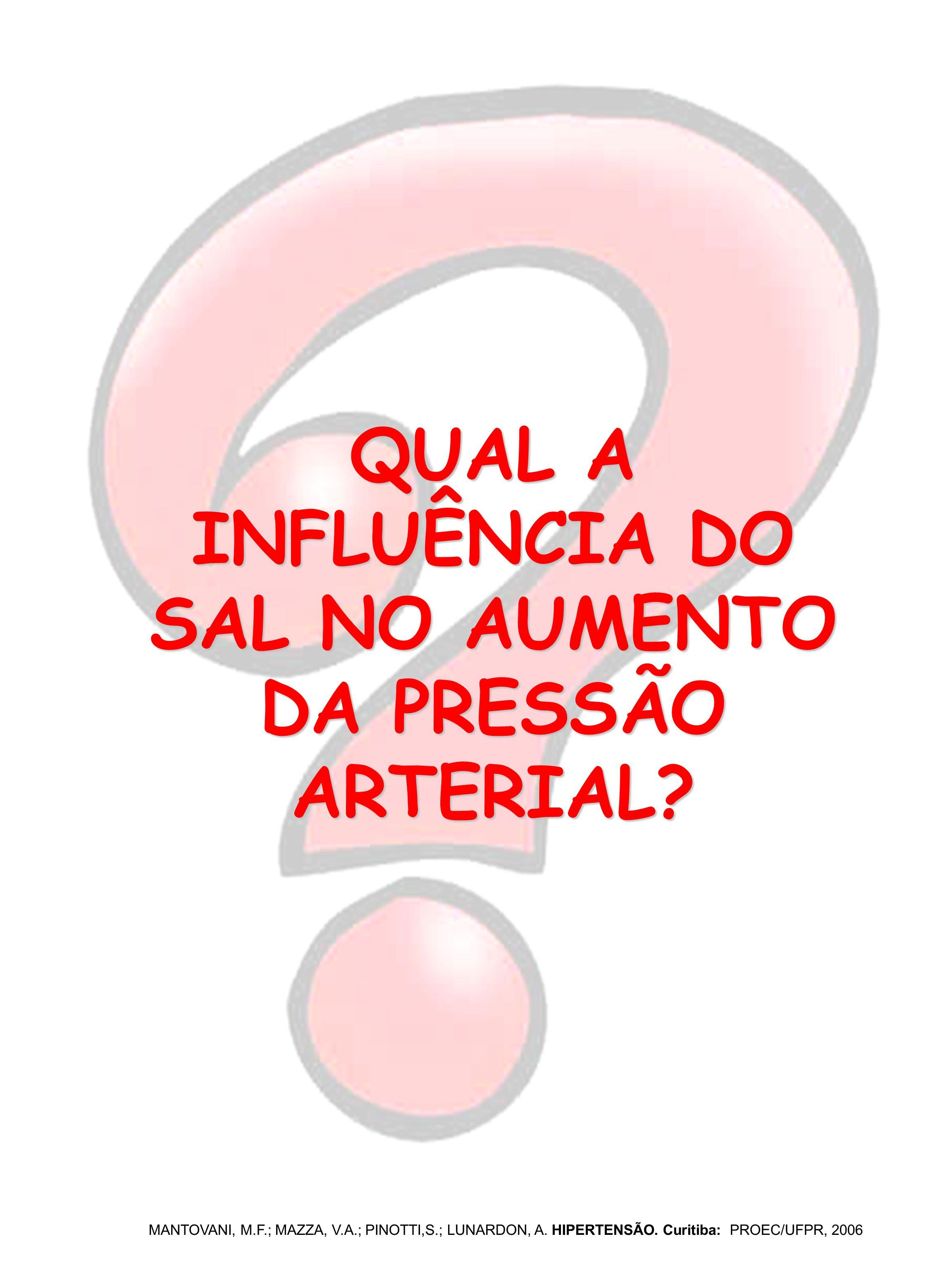 QUAL A INFLUÊNCIA DO SAL NO AUMENTO DA PRESSÃO ARTERIAL? MANTOVANI, M.F.; MAZZA, V.A.; PINOTTI,S.; LUNARDON, A. HIPERTENSÃO. Curitiba: PROEC/UFPR, 200
