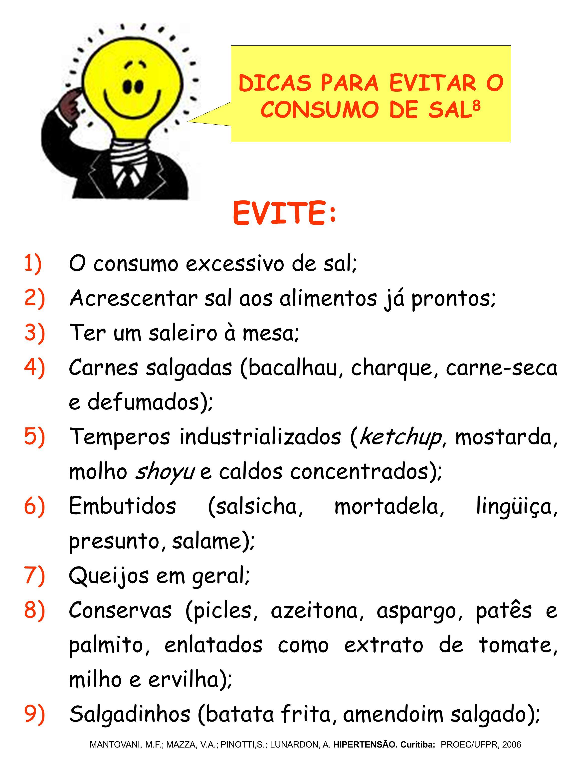 1)O consumo excessivo de sal; 2)Acrescentar sal aos alimentos já prontos; 3)Ter um saleiro à mesa; 4)Carnes salgadas (bacalhau, charque, carne-seca e