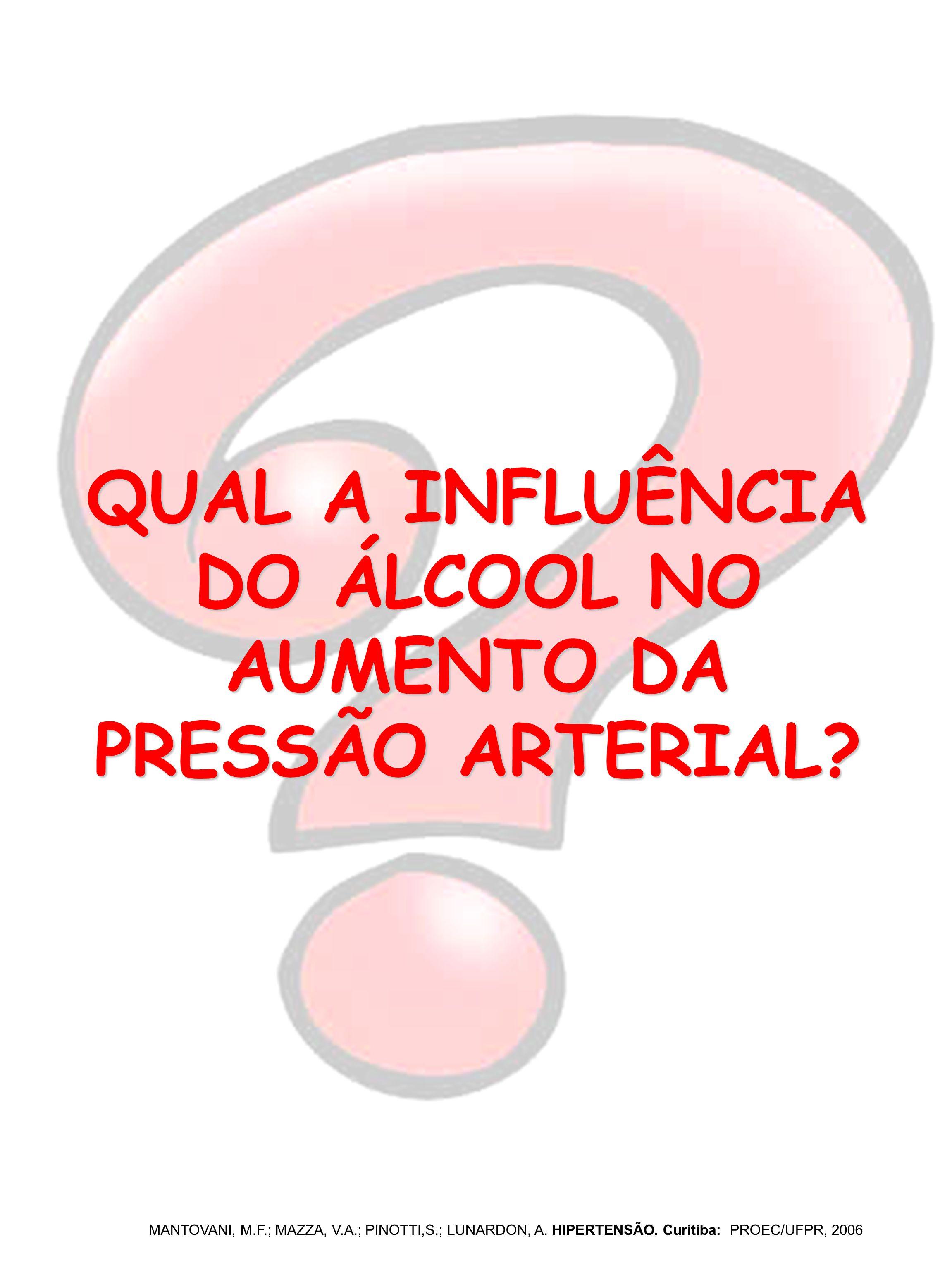 QUAL A INFLUÊNCIA DO ÁLCOOL NO AUMENTO DA PRESSÃO ARTERIAL? MANTOVANI, M.F.; MAZZA, V.A.; PINOTTI,S.; LUNARDON, A. HIPERTENSÃO. Curitiba: PROEC/UFPR,