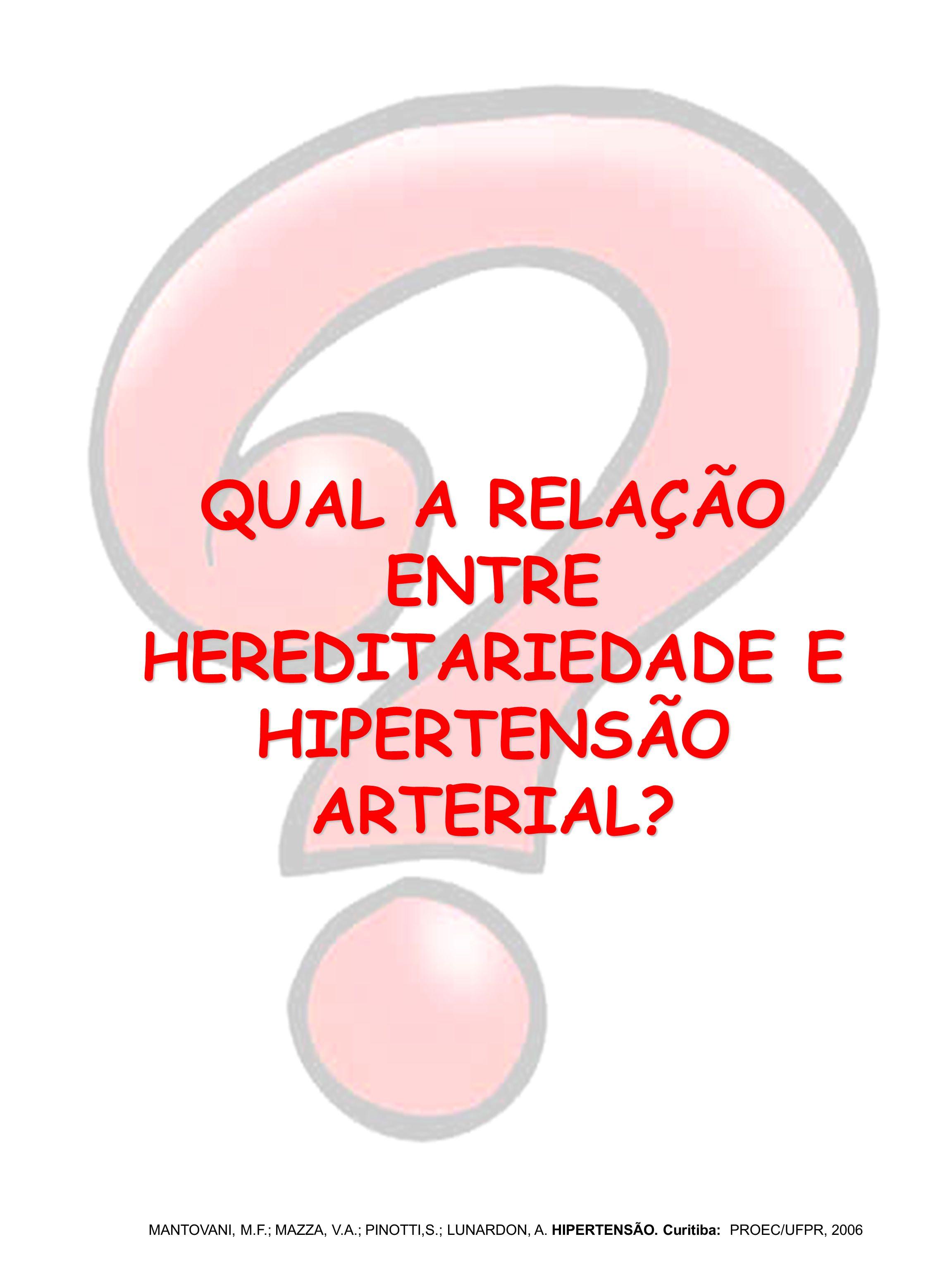 QUAL A RELAÇÃO ENTRE HEREDITARIEDADE E HIPERTENSÃO ARTERIAL? MANTOVANI, M.F.; MAZZA, V.A.; PINOTTI,S.; LUNARDON, A. HIPERTENSÃO. Curitiba: PROEC/UFPR,