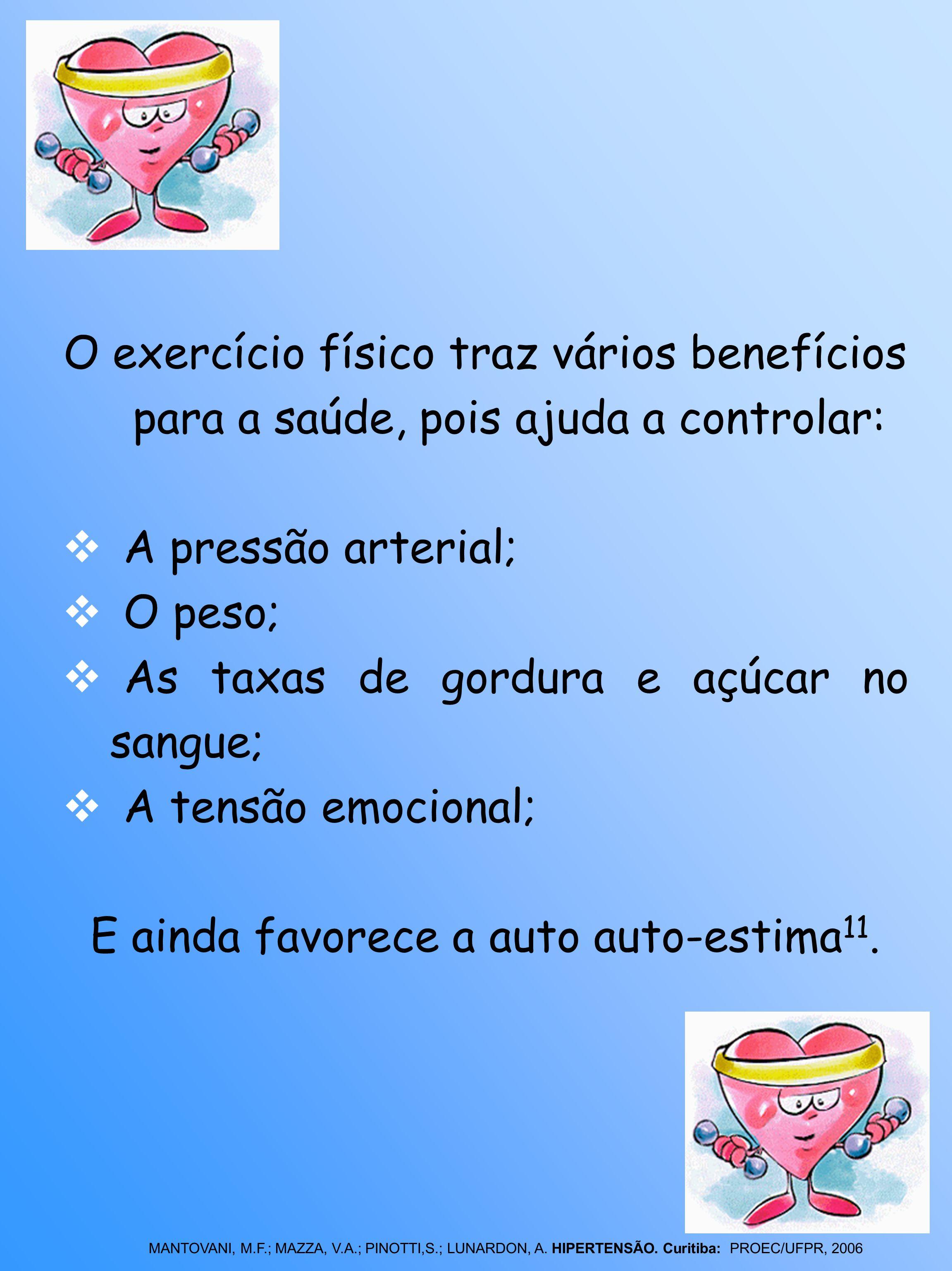 O exercício físico traz vários benefícios para a saúde, pois ajuda a controlar: A pressão arterial; O peso; As taxas de gordura e açúcar no sangue; A