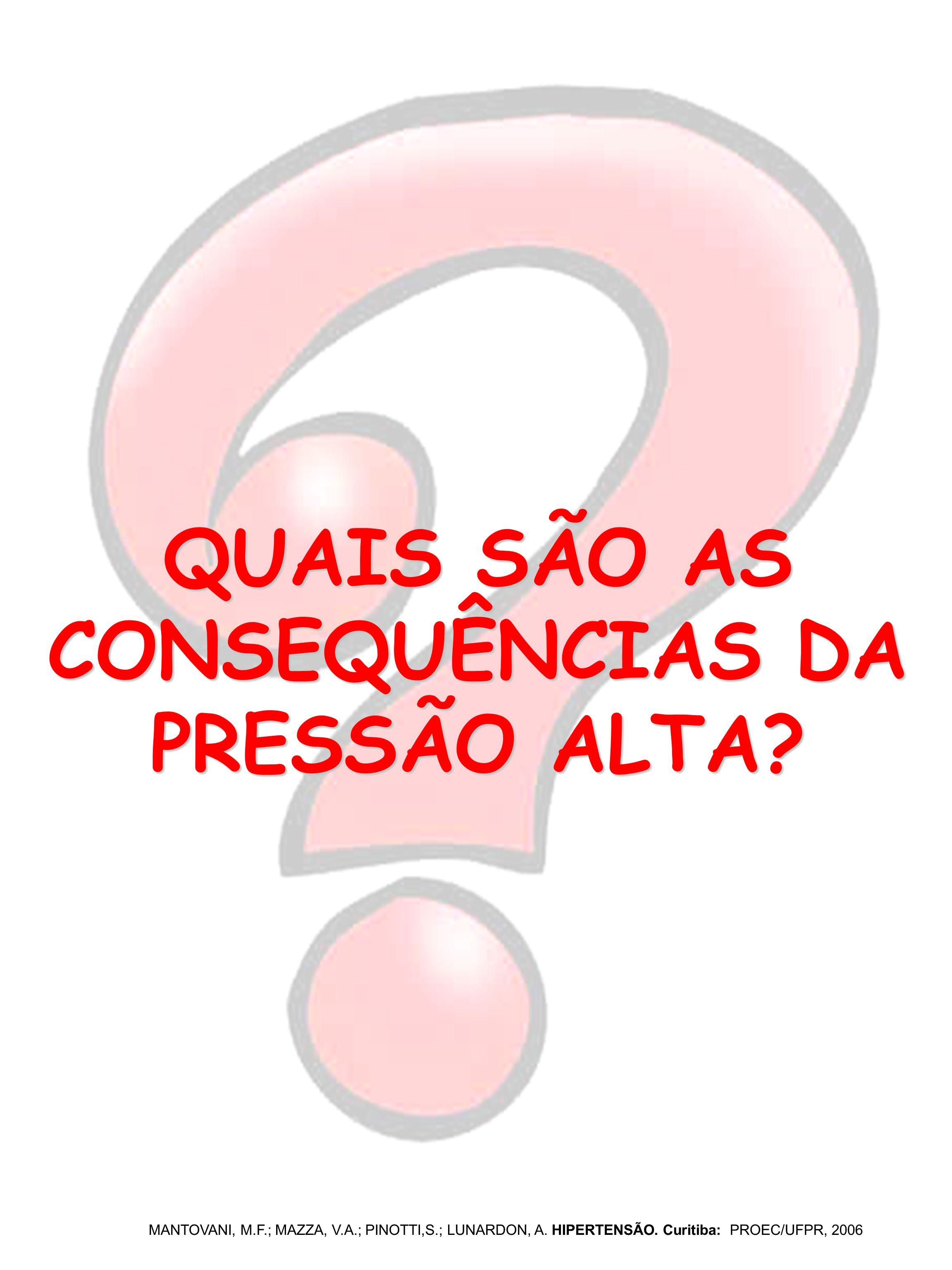 QUAIS SÃO AS CONSEQUÊNCIAS DA PRESSÃO ALTA? MANTOVANI, M.F.; MAZZA, V.A.; PINOTTI,S.; LUNARDON, A. HIPERTENSÃO. Curitiba: PROEC/UFPR, 2006