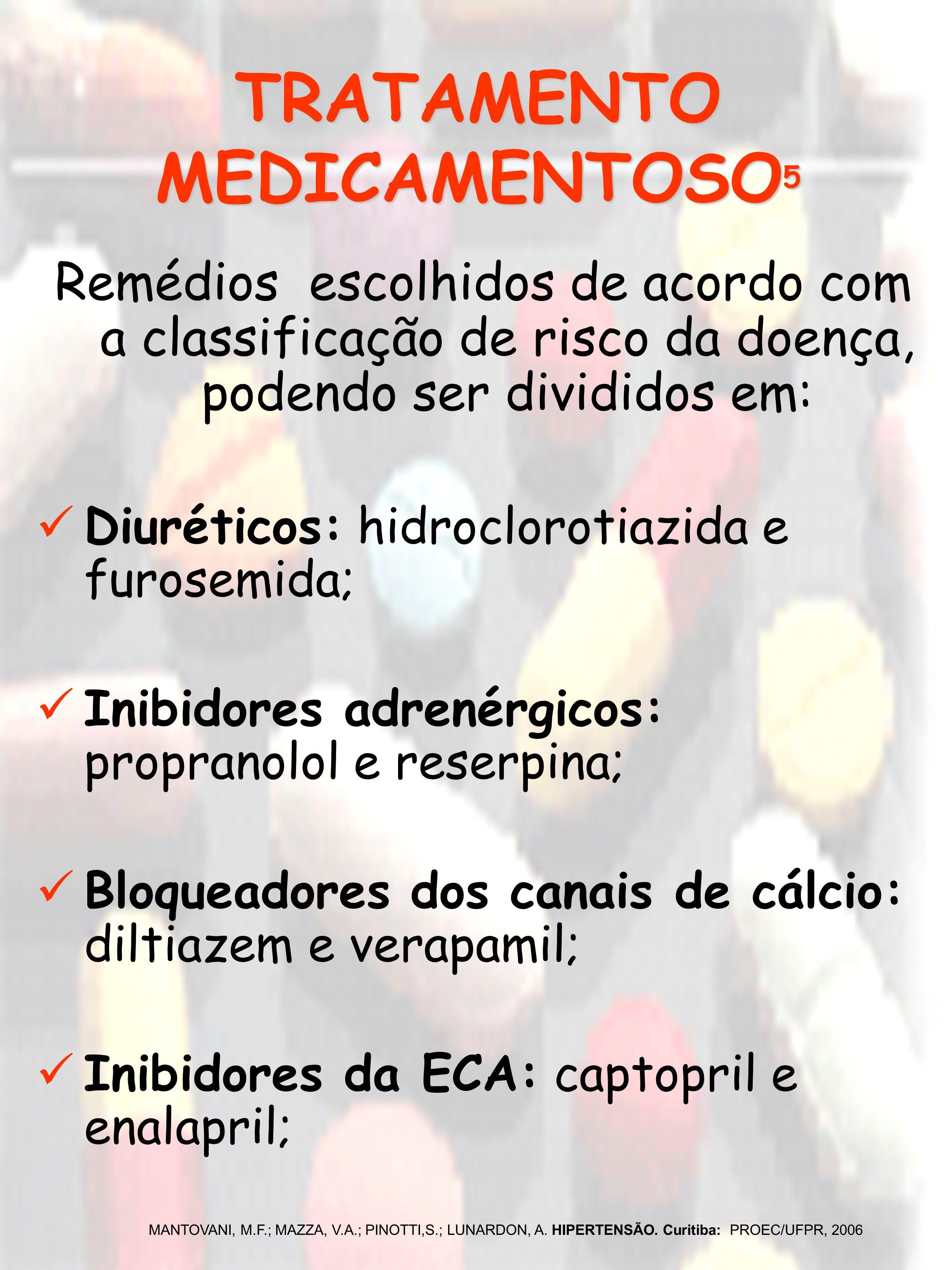 TRATAMENTO MEDICAMENTOSO 5 Remédios escolhidos de acordo com a classificação de risco da doença, podendo ser divididos em: Diuréticos: hidroclorotiazi