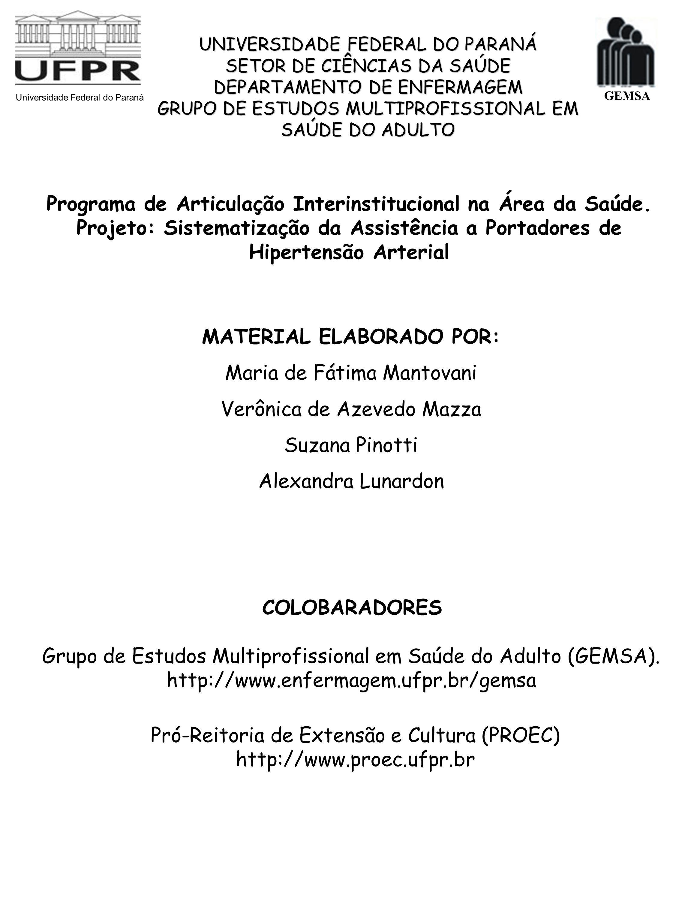 GEMSA MATERIAL ELABORADO POR: Maria de Fátima Mantovani Verônica de Azevedo Mazza Suzana Pinotti Alexandra Lunardon Universidade Federal do Paraná Gru