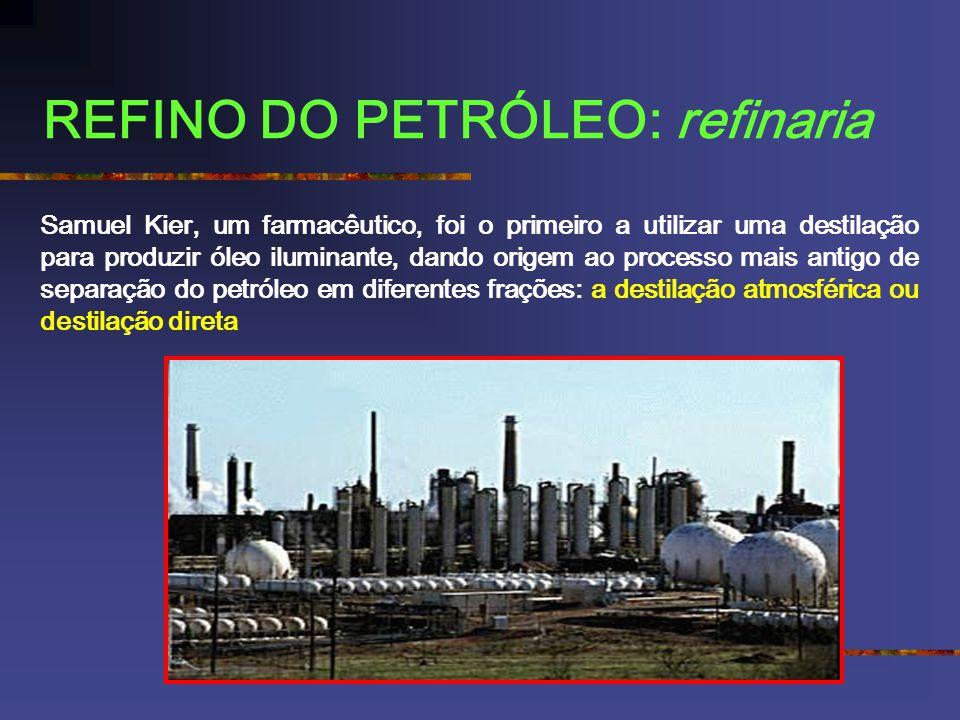 REFINO DO PETRÓLEO: refinaria Samuel Kier, um farmacêutico, foi o primeiro a utilizar uma destilação para produzir óleo iluminante, dando origem ao processo mais antigo de separação do petróleo em diferentes frações: a destilação atmosférica ou destilação direta