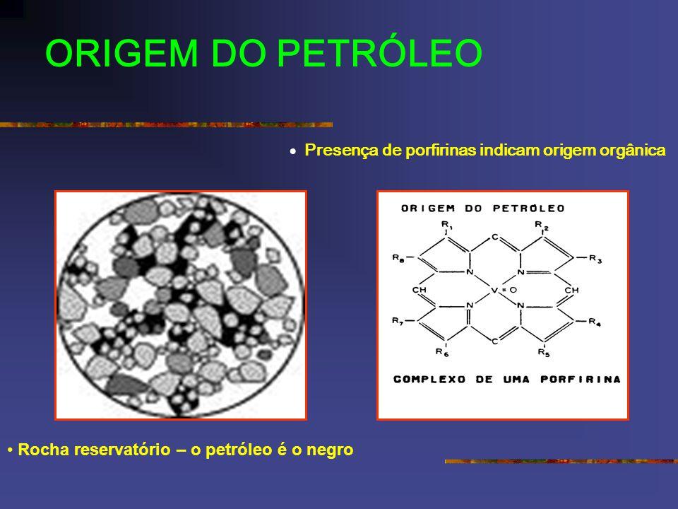 Presença de porfirinas indicam origem orgânica Rocha reservatório – o petróleo é o negro
