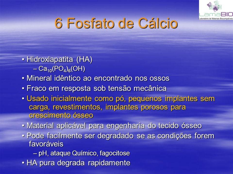 6 Fosfato de Cálcio Hidroxiapatita (HA) Hidroxiapatita (HA) – Ca 10 (PO 4 ) 6 (OH) Mineral idêntico ao encontrado nos ossos Mineral idêntico ao encont