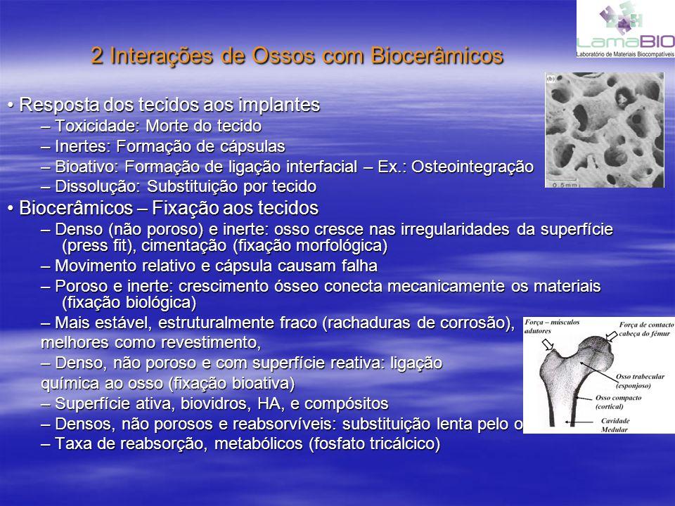 2 Interações de Ossos com Biocerâmicos Resposta dos tecidos aos implantes Resposta dos tecidos aos implantes – Toxicidade: Morte do tecido – Inertes: