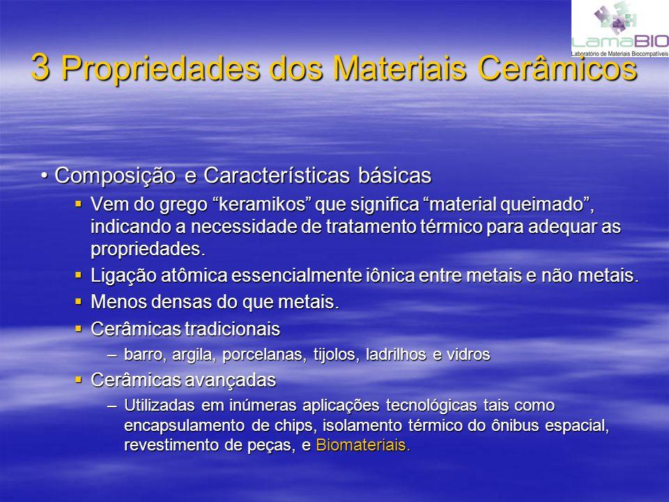 3 Propriedades dos Materiais Cerâmicos Composição e Características básicas Composição e Características básicas Vem do grego keramikos que significa