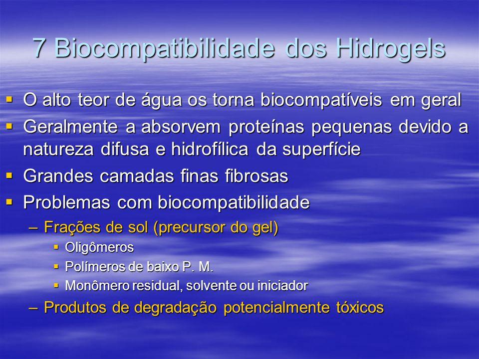 7 Biocompatibilidade dos Hidrogels O alto teor de água os torna biocompatíveis em geral O alto teor de água os torna biocompatíveis em geral Geralment