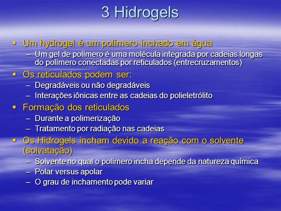 3 Hidrogels Os hidrogels inchados podem absorver várias vezes o próprio peso em água Os hidrogels inchados podem absorver várias vezes o próprio peso em água Os solventes determinam a morfologia do polímero, se formam glóbulos ou bobinas Os solventes determinam a morfologia do polímero, se formam glóbulos ou bobinas Os Hidrogels podem variar entre a forma inchada ou colapso da estrutura Os Hidrogels podem variar entre a forma inchada ou colapso da estrutura