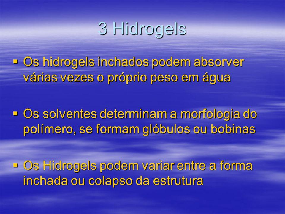 3 Hidrogels Os hidrogels inchados podem absorver várias vezes o próprio peso em água Os hidrogels inchados podem absorver várias vezes o próprio peso