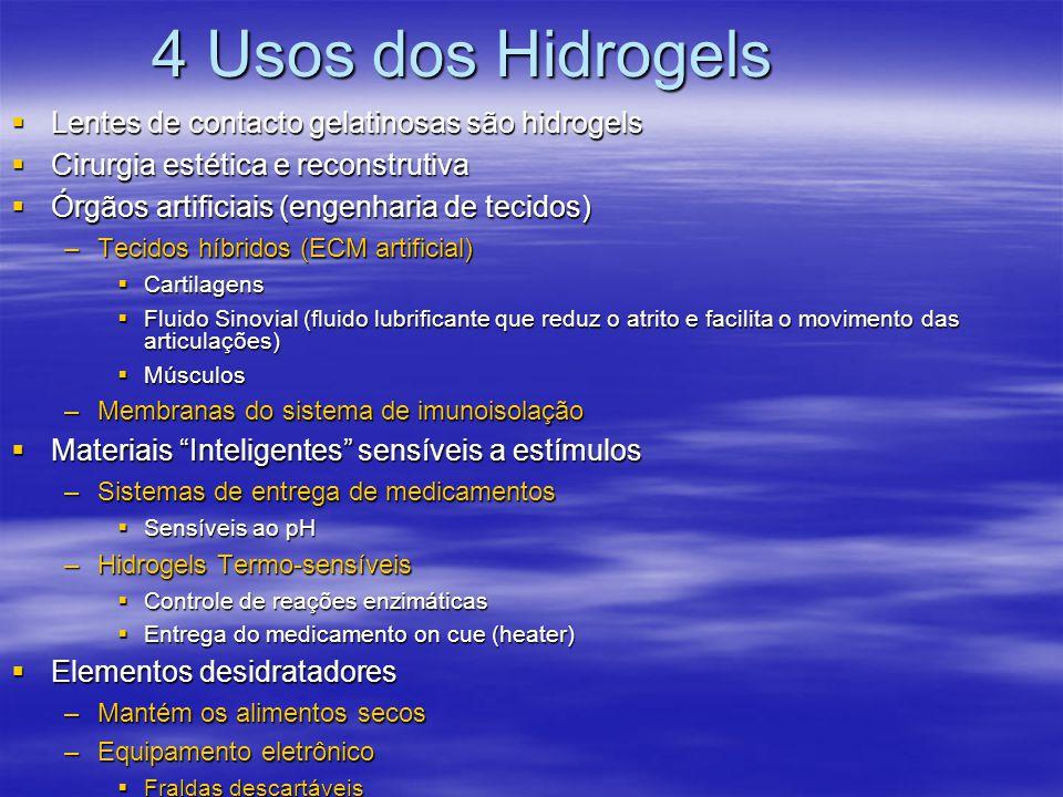 4 Usos dos Hidrogels Lentes de contacto gelatinosas são hidrogels Lentes de contacto gelatinosas são hidrogels Cirurgia estética e reconstrutiva Cirur
