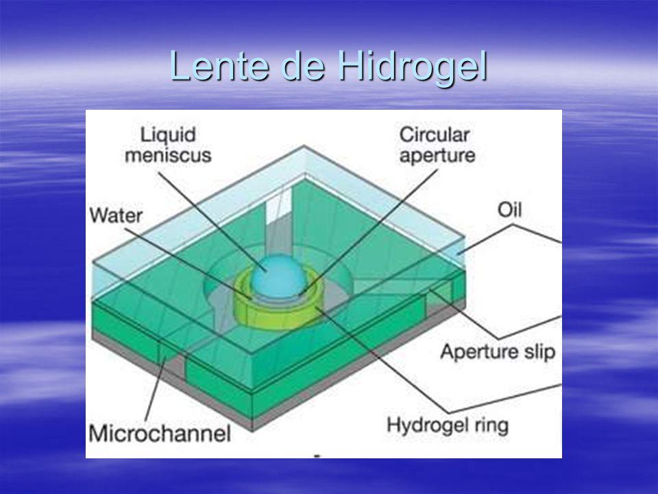 No caso das microlentes, o hidrogel funciona como atuador para fazer com que a lente altere seu ponto focal.