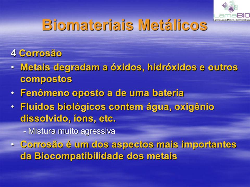 Biomateriais Metálicos 4 Corrosão Metais degradam a óxidos, hidróxidos e outros compostosMetais degradam a óxidos, hidróxidos e outros compostos Fenôm