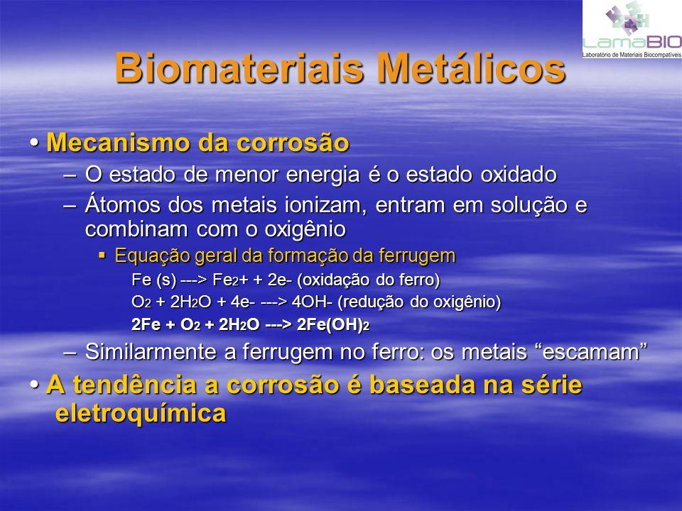 Biomateriais Metálicos Mecanismo da corrosão Mecanismo da corrosão –O estado de menor energia é o estado oxidado –Átomos dos metais ionizam, entram em