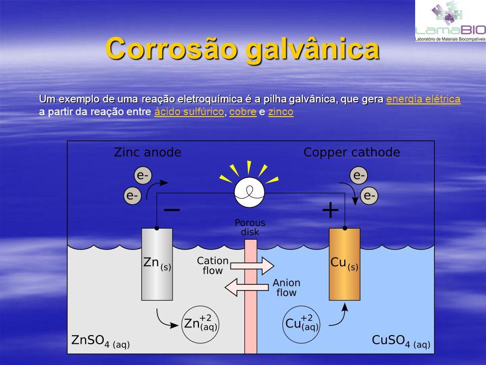 Corrosão galvânica Um exemplo de uma reação eletroquímica é a pilha galvânica, que gera Um exemplo de uma reação eletroquímica é a pilha galvânica, qu