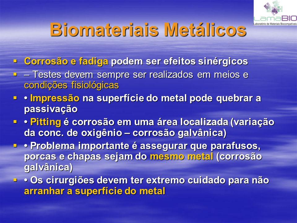 Biomateriais Metálicos Corrosão e fadiga podem ser efeitos sinérgicos Corrosão e fadiga podem ser efeitos sinérgicos – Testes devem sempre ser realiza