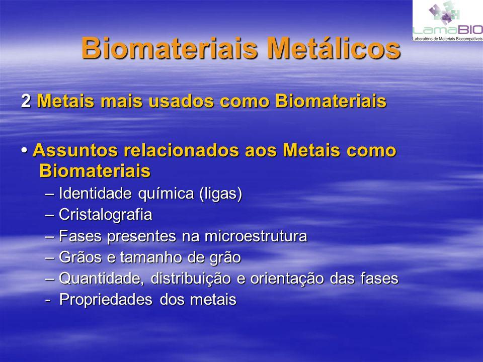 Biomateriais Metálicos Aço InoxidávelAço Inoxidável Ligas a base de Cobalto Ligas a base de Cobalto –Sempre misturado com cromo Ligas a base de Titânio Ligas a base de Titânio –Muito leve com relativa alta resistência –Conteúdo de oxigênio afeta a resistência –Relativamente puro