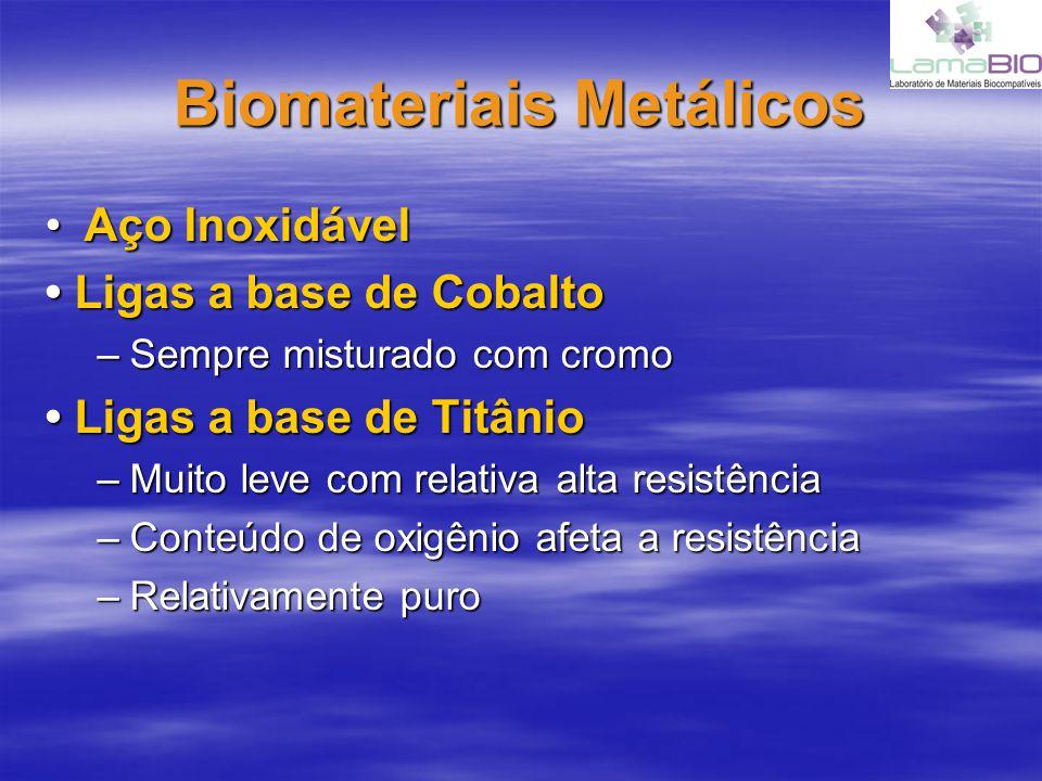 Biomateriais Metálicos Aço InoxidávelAço Inoxidável Ligas a base de Cobalto Ligas a base de Cobalto –Sempre misturado com cromo Ligas a base de Titâni