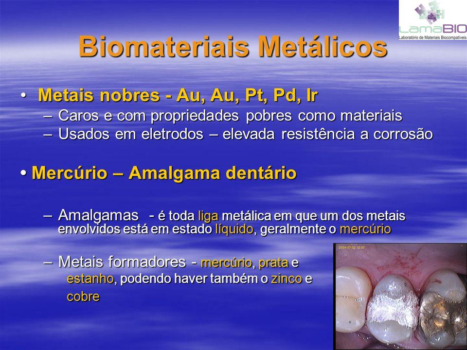 Biomateriais Metálicos Metais nobres - Au, Au, Pt, Pd, IrMetais nobres - Au, Au, Pt, Pd, Ir –Caros e com propriedades pobres como materiais –Usados em