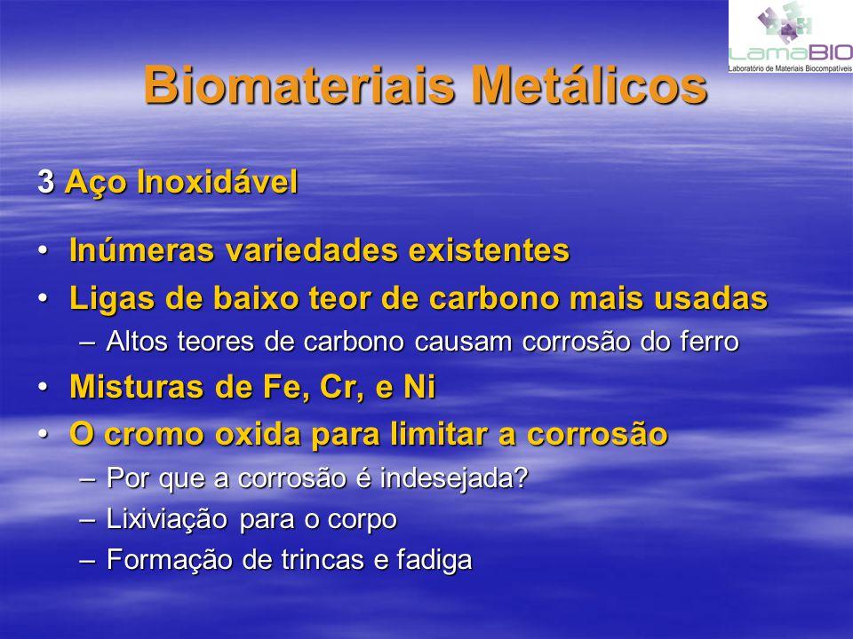 Biomateriais Metálicos 3 Aço Inoxidável Inúmeras variedades existentesInúmeras variedades existentes Ligas de baixo teor de carbono mais usadasLigas d