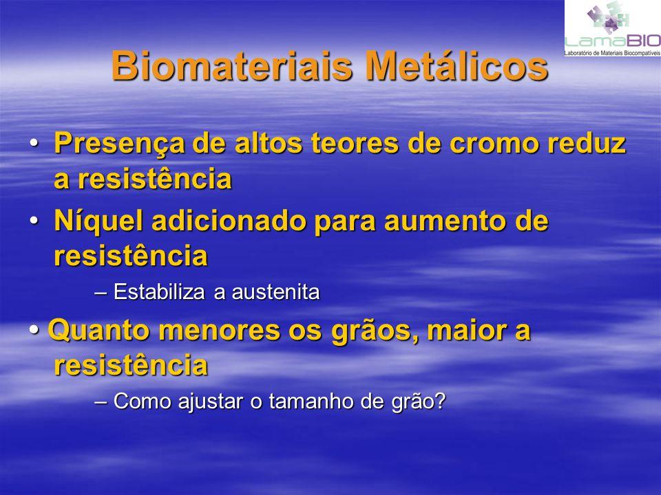 Biomateriais Metálicos 4 Corrosão Metais degradam a óxidos, hidróxidos e outros compostosMetais degradam a óxidos, hidróxidos e outros compostos Fenômeno oposto a de uma bateriaFenômeno oposto a de uma bateria Fluidos biológicos contem água, oxigênio dissolvido, íons, etc.Fluidos biológicos contem água, oxigênio dissolvido, íons, etc.