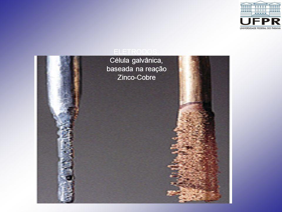 ELETRODOS: Célula galvânica, baseada na reação Zinco-Cobre