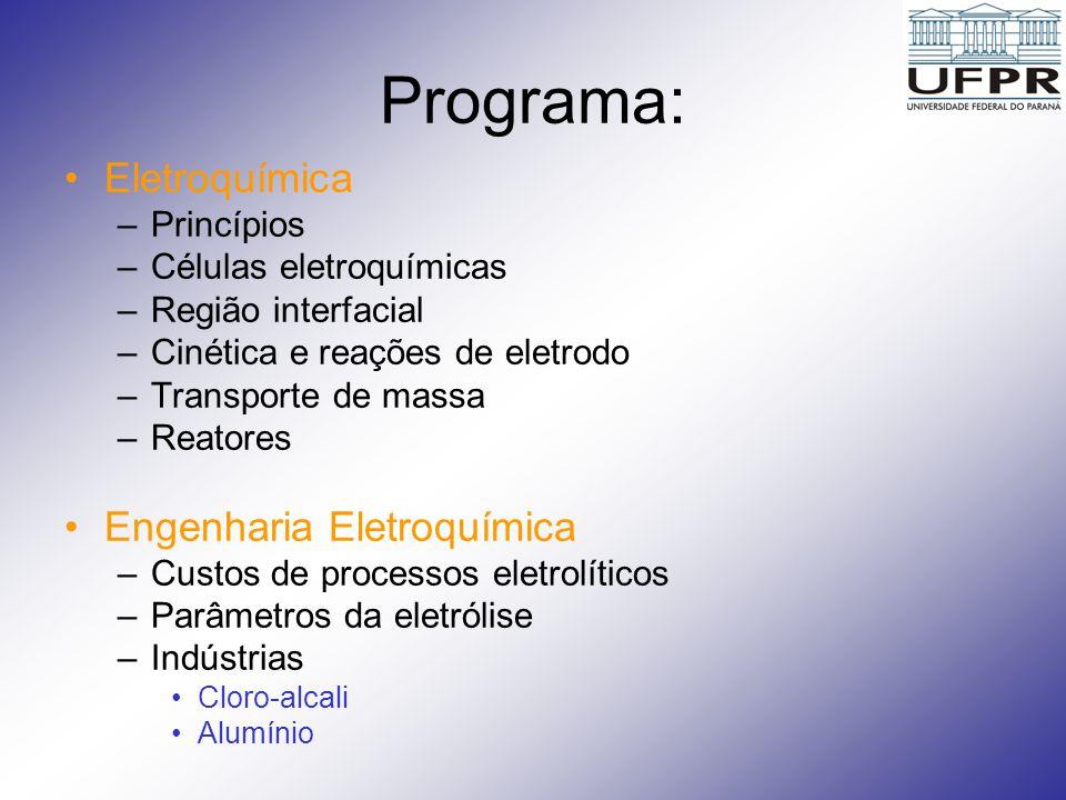 Programa: (cont.) Indústrias (cont.) –Extração e refino de metais –Processos eletrolíticos inorgânicos – (eletrólise da água –Eletrosíntese de orgânicos – (hidromerização da acrinonitrila – Nylon) –Acabamento de metais (Galvanoplastia, Anodização) –Baterias –Células a combustível –Tratamento de água e proteção ao meio ambiente Corrosão –Princípios –Formas de corrosão –Proteção contra a corrosão