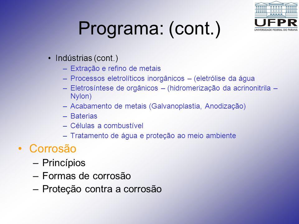 Programa: (cont.) Indústrias (cont.) –Extração e refino de metais –Processos eletrolíticos inorgânicos – (eletrólise da água –Eletrosíntese de orgânic
