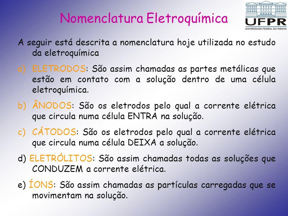 Nomenclatura Eletroquímica A seguir está descrita a nomenclatura hoje utilizada no estudo da eletroquímica a)ELETRODOS: São assim chamadas as partes m