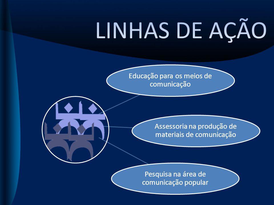 Educação para os meios de comunicação Assessoria na produção de materiais de comunicação Pesquisa na área de comunicação popular
