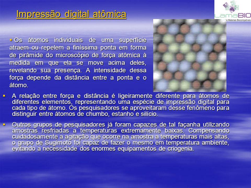 Impressão digital atômica A relação entre força e distância é ligeiramente diferente para átomos de diferentes elementos, representando uma espécie de impressão digital para cada tipo de átomo.