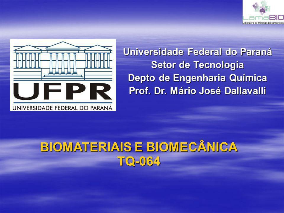 TQ-064 – BIOMATERIAIS E BIOMECÂNICA Conteúdo das aulas: Aula 1 - Introdução a Biomateriais e Biomecânica Aula 1 - Introdução a Biomateriais e Biomecânica Aula 2 - Propriedades gerais e superficiais dos materiais Aula 2 - Propriedades gerais e superficiais dos materiais Aula 3 - Biomateriais Metálicos Aula 3 - Biomateriais Metálicos Aula 4 - Biomateriais Poliméricos Aula 4 - Biomateriais Poliméricos Aula 5 - Mecânica dos Polímeros e Hidrogels Aula 5 - Mecânica dos Polímeros e Hidrogels Aula 6 - Biodegrabilidade de Polímeros Aula 6 - Biodegrabilidade de Polímeros