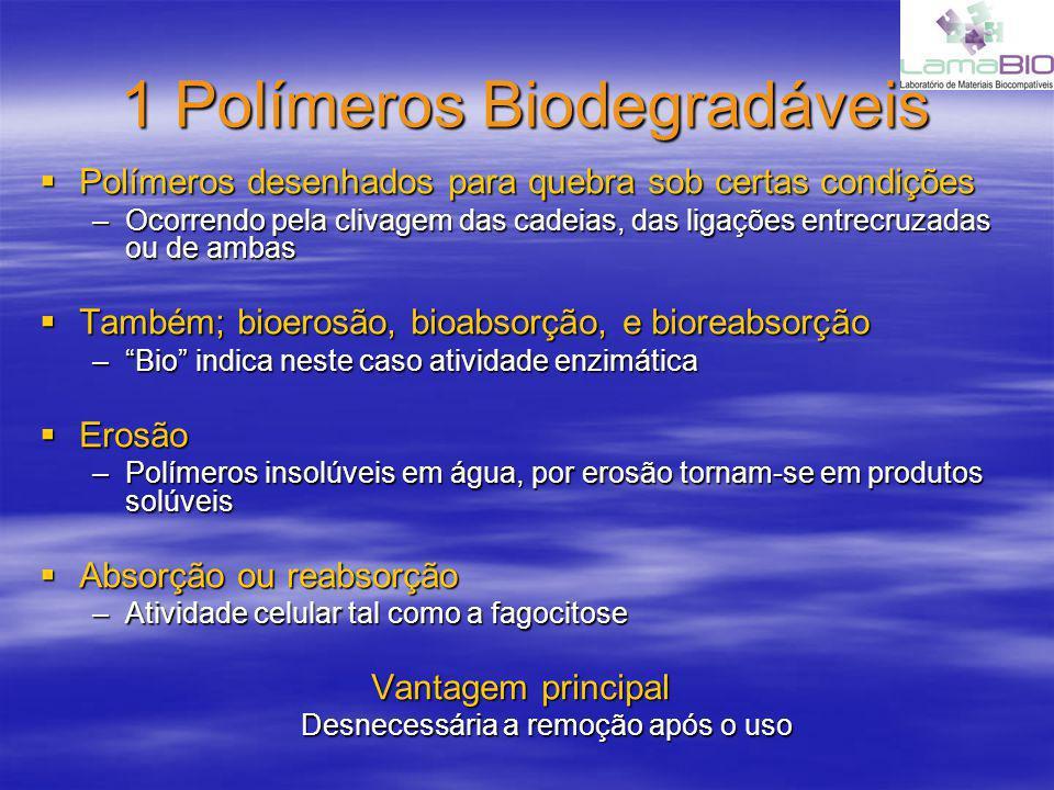 1 Polímeros Biodegradáveis Polímeros desenhados para quebra sob certas condições Polímeros desenhados para quebra sob certas condições –Ocorrendo pela clivagem das cadeias, das ligações entrecruzadas ou de ambas Também; bioerosão, bioabsorção, e bioreabsorção Também; bioerosão, bioabsorção, e bioreabsorção –Bio indica neste caso atividade enzimática Erosão Erosão –Polímeros insolúveis em água, por erosão tornam-se em produtos solúveis Absorção ou reabsorção Absorção ou reabsorção –Atividade celular tal como a fagocitose Vantagem principal Desnecessária a remoção após o uso