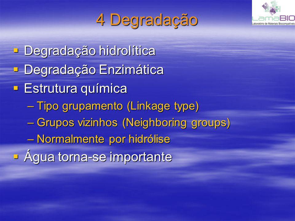 4 Degradação Degradação hidrolítica Degradação hidrolítica Degradação Enzimática Degradação Enzimática Estrutura química Estrutura química –Tipo grupamento (Linkage type) –Grupos vizinhos (Neighboring groups) –Normalmente por hidrólise Água torna-se importante Água torna-se importante