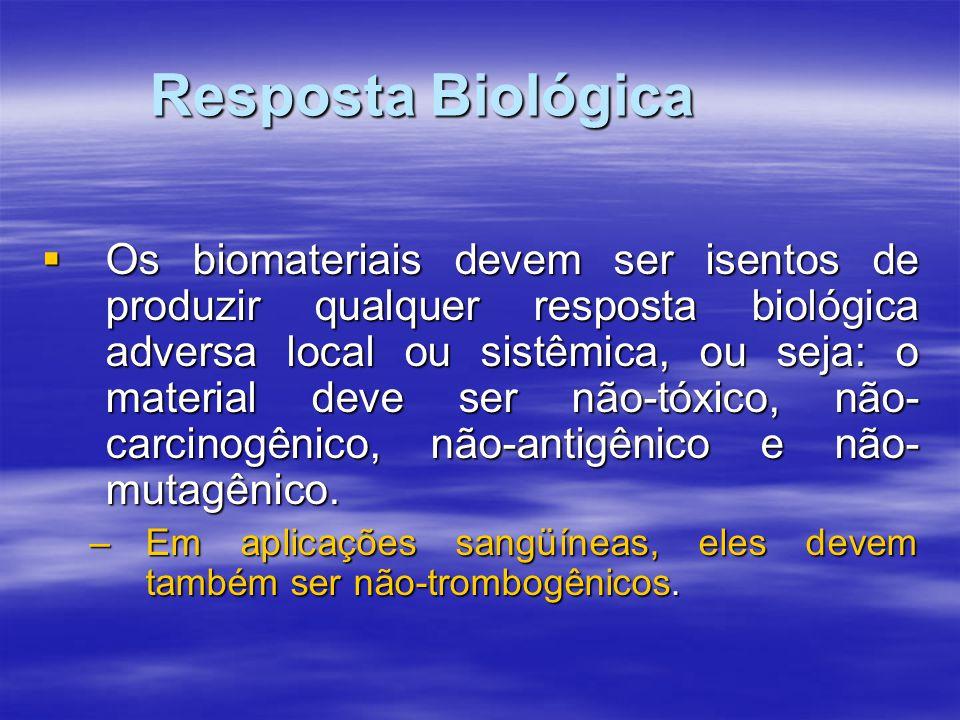 Resposta Biológica Os biomateriais devem ser isentos de produzir qualquer resposta biológica adversa local ou sistêmica, ou seja: o material deve ser