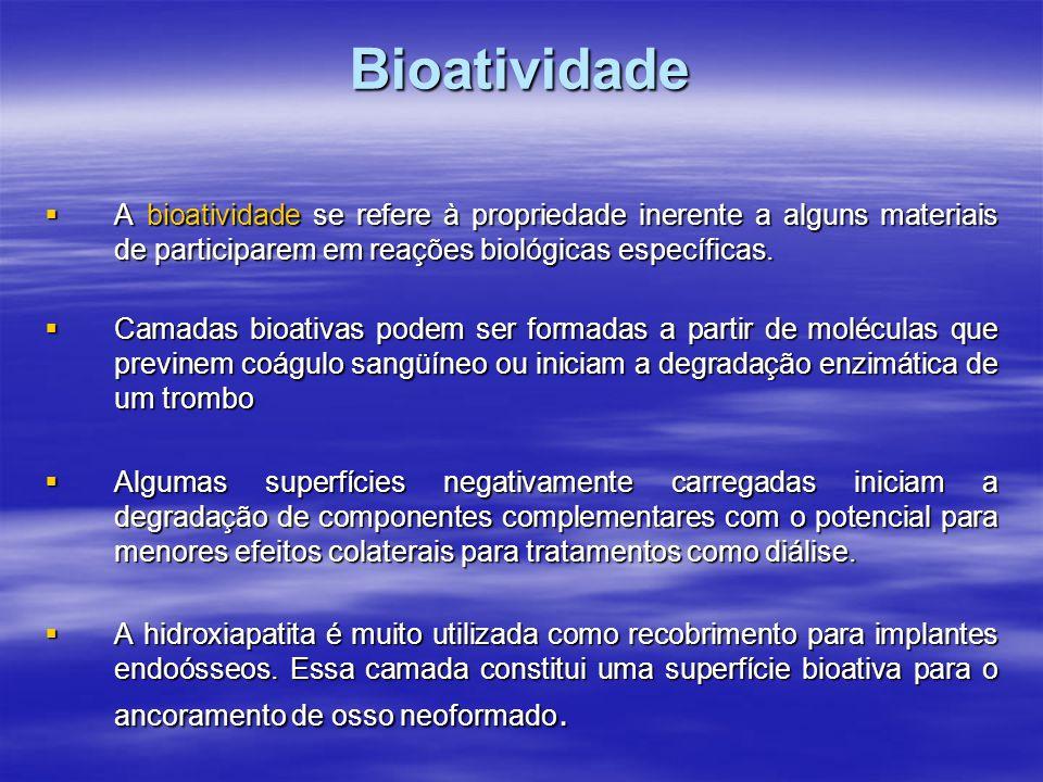 Bioatividade Quanto à resposta biológica os materiais podem ser: Quanto à resposta biológica os materiais podem ser: A - BIOINERTES B - BIOREATIVOS C - BIOATIVOS